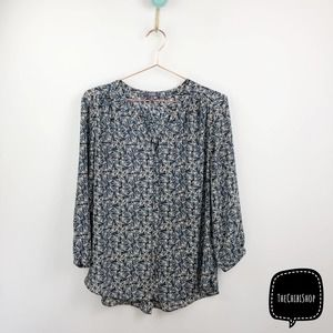 NYDJ Smocked back floral button down top